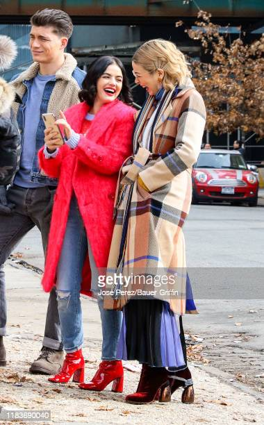 Lucy Hale Julia Chan and Zane Holtz are seen on film set of the 'Katy Keene' in Queens on November 20 2019 in New York City