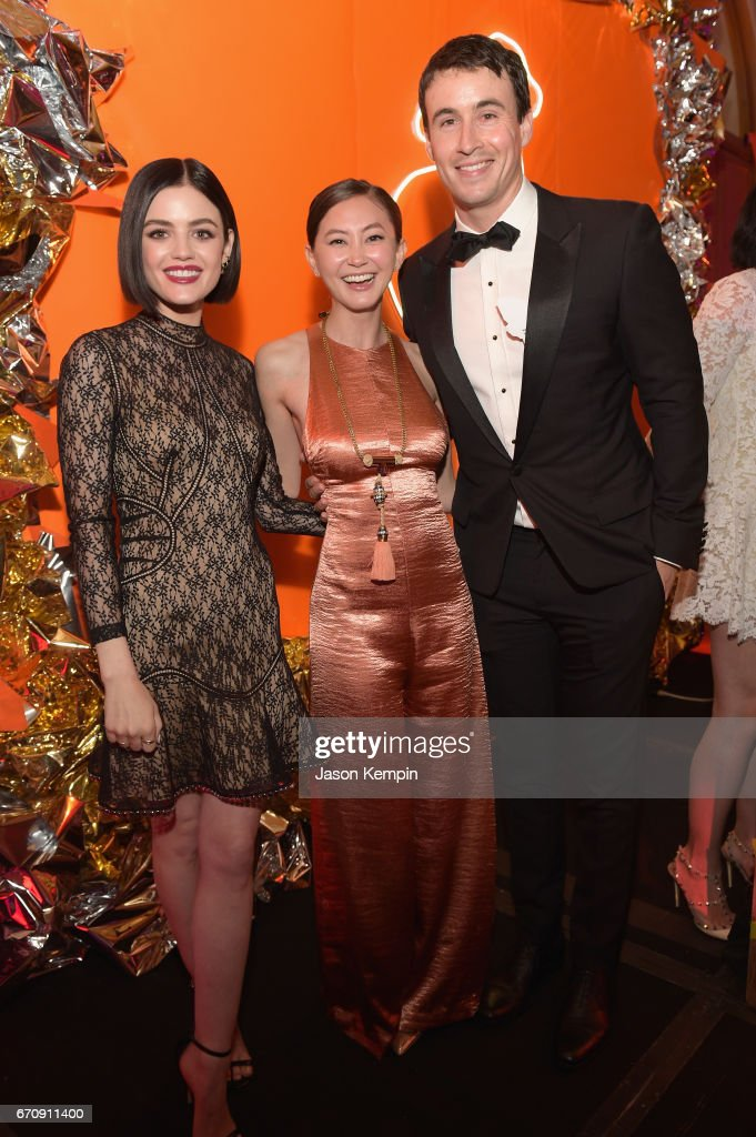 Lucy Hale, Kimiko Glenn, and Huw Collins attend the ASPCA After Dark cocktail party hosted by Lucy Hale at The Plaza Hotel on April 20, 2017 in New York City.