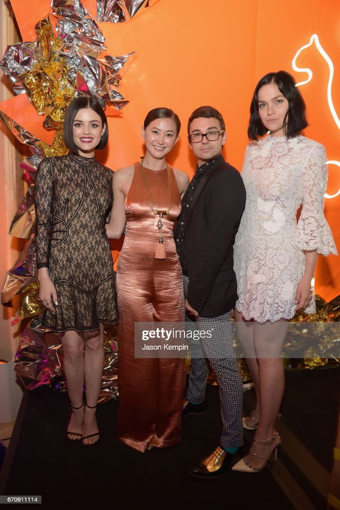 Lucy Hale, Kimiko Glenn, Christian Siriano, and Leigh Lezark attend the ASPCA After Dark cocktail party hosted by Lucy Hale at The Plaza Hotel on April 20, 2017 in New York City.
