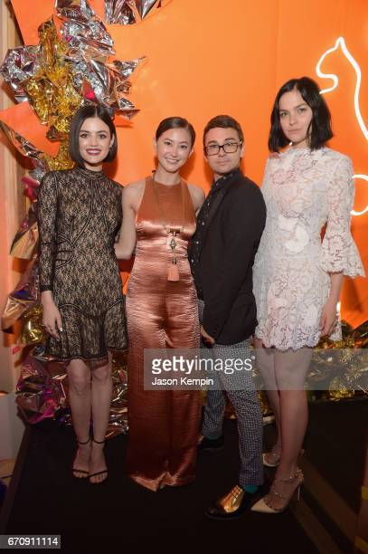 Lucy Hale Kimiko Glenn Christian Siriano and Leigh Lezark attend the ASPCA After Dark cocktail party hosted by Lucy Hale at The Plaza Hotel on April...