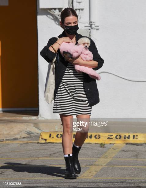 Lucy Hale picks up her new puppy from an adoption center on February 6, 2021 in Los Angeles, California.
