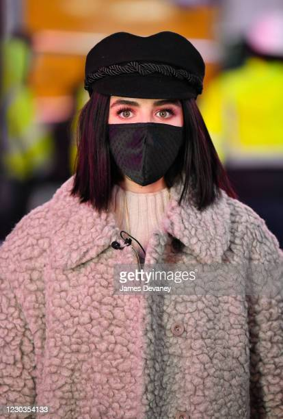 Lucy Hale rehearses for New Year's Eve 2021 in Times Square on December 29, 2020 in New York City.