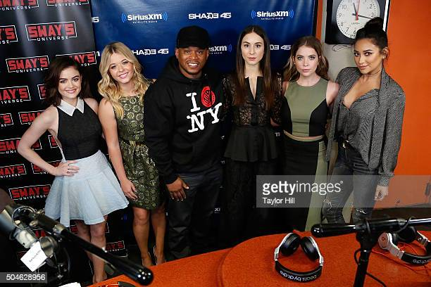 Lucy Hale Sasha Pieterse Sway Calloway Troian Bellisario Ashley Benson and Shay Mitchell visit 'Sway in the Morning' on SHADE 45 at SiriusXM Studios...