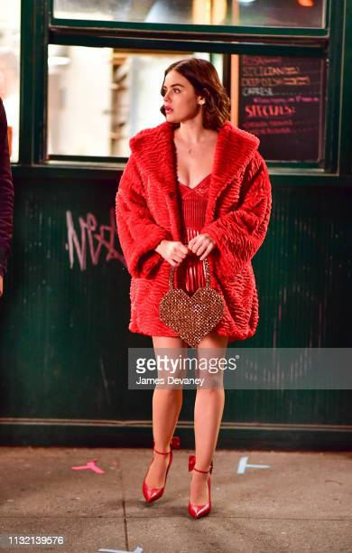 Lucy Hale seen filming on location for 'Katy Keene' on the Lower East Side on March 23 2019 in New York City