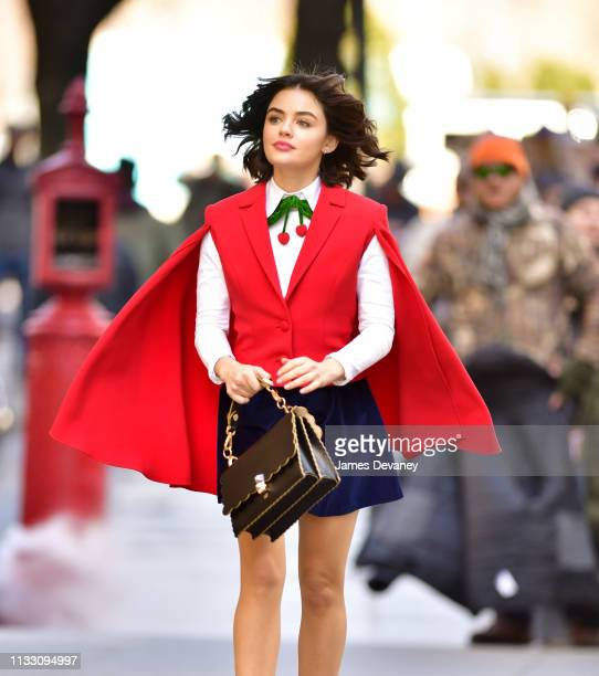 Lucy Hale seen filming on location for 'Katy Keene' outside Bergdorf Goodman on March 26 2019 in New York City