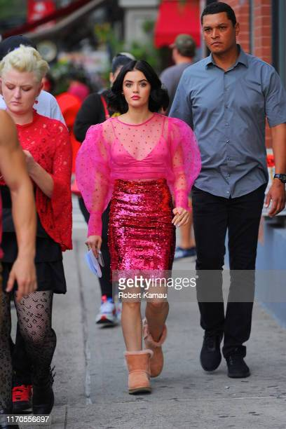 Lucy Hale seen on the set of 'Katy Keene' in Manhattan on September 23, 2019 in New York City.