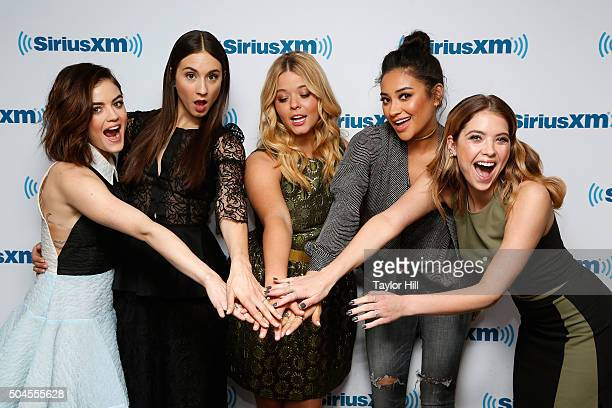Lucy Hale Troian Bellisario Sasha Pieterse Shay Mitchell and Ashley Benson of 'Pretty Little Liars' visit SiriusXM Studios on January 11 2016 in New...