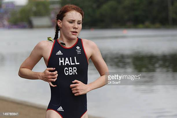 Lucy Hall of Team GB competes in the running stage of the Women's Triathlon event at the London 2012 Olympic Games in Hyde Park which was won by...