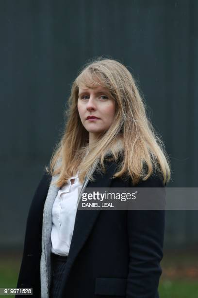 Lucy Harris who founded the Leavers of London social network poses outside the House of Parliament in Westminster central London on January 21 2018...