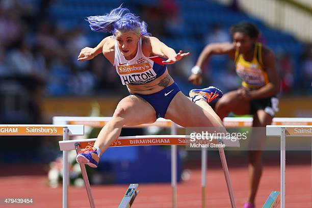 Lucy Hatton of Corby AC hits the last hurdle during the Women's 100m hurdles heats during day two of the Sainsbury's British Championships at...