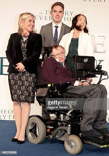 Lucy Hawking a guest Jane Hawking and Stephen Hawking attend the UK Premiere of The Theory Of Everything at Odeon Leicester Square on December 9 2014...