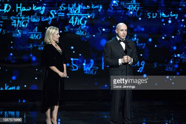 Lucy Hawking and Yuri Milner onstage at the 2019 Breakthrough Prize at NASA Ames Research Center on November 4 2018 in Mountain View California