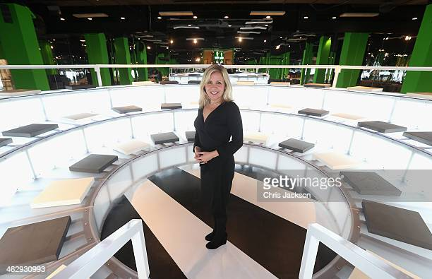 Lucy Hawking daughter of Stephen Hawking poses for a photograph as she launches the Festival of Imagination in the Imaginarium designed by architect...