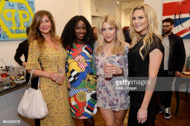 Lucy Horobin Sarah Mulindwa Olivia Cox and Stephanie Pratt attend Alec Monopoly's 'Breaking the Bank on Bond Street' exhibition launch party at the...