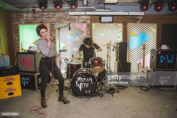 Lucy Jowett and Jacob Marston of Dead Naked Hippies perform at Headrow House on January 21 2017 in Leeds United Kingdom