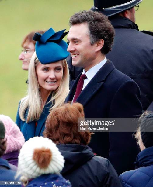Lucy Lanigan-O'Keeffe and Thomas van Straubenzee attend Sunday service at the Church of St Mary Magdalene on the Sandringham estate on January 5,...
