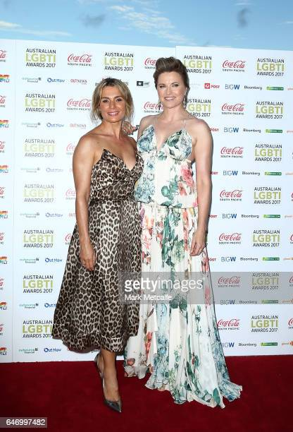 Lucy Lawless and Danielle Cormack arrive ahead of the Australian LGBTI Awards 2017 at Sydney Opera House on March 2 2017 in Sydney Australia