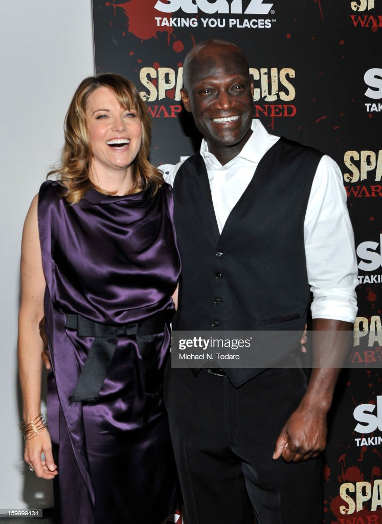 Lucy Lawless and Peter Mensah attend the 'Spartacus: War Of The Damned' series finale premiere at The Museum of Modern Art on January 24, 2013 in New York City.