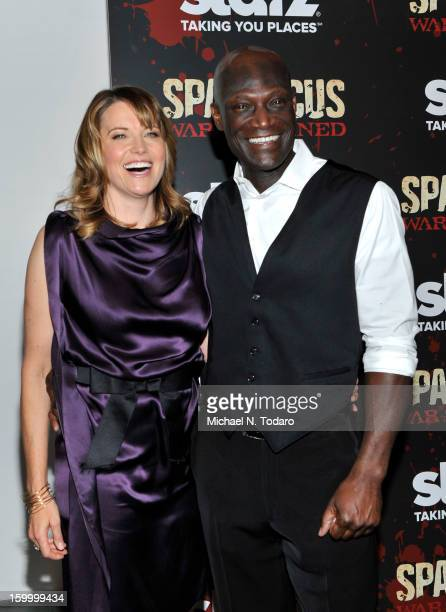 Lucy Lawless and Peter Mensah attend the 'Spartacus War Of The Damned' series finale premiere at The Museum of Modern Art on January 24 2013 in New...