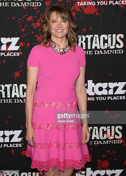 Lucy Lawless arrives at the Spartacus War Of The Damned Los Angeles Premiere at Regal Cinemas LA LIVE Stadium 14 on January 22 2013 in Los Angeles...