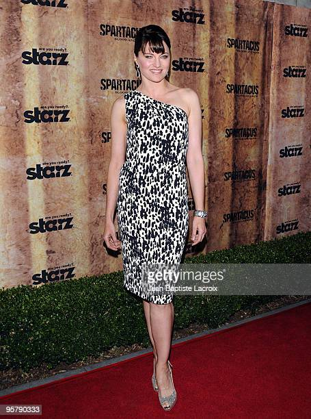 Lucy Lawless arrives at the Starz original TV series 'Spartacus Blood and Sand' at Billy Wilder Theater on January 14 2010 in Westwood Village...