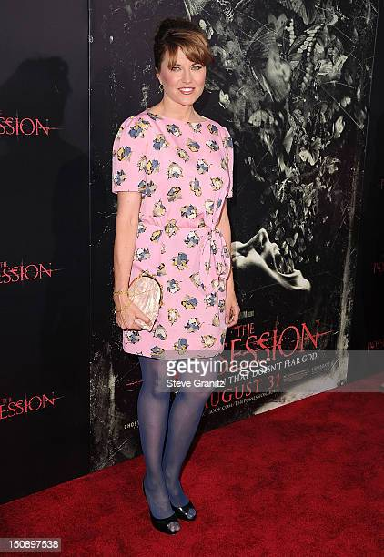 Lucy Lawless arrives at the The Possession Los Angeles Premiere at ArcLight Cinemas on August 28 2012 in Hollywood California