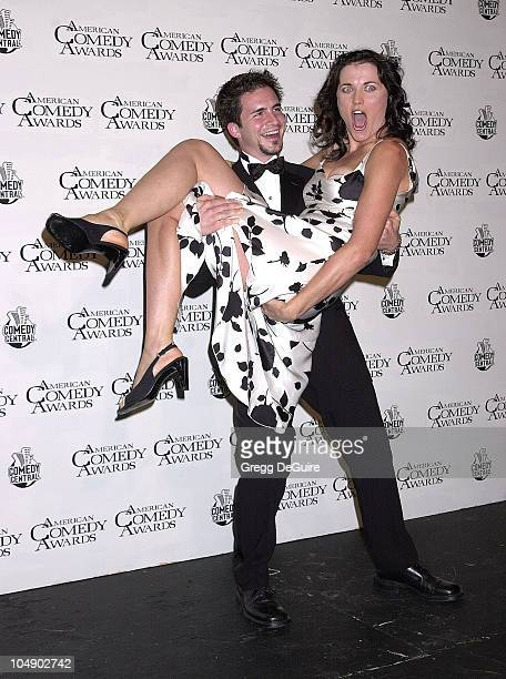 Lucy Lawless & Hal Sparks during 2001 American Comedy Awards at Universal Studios in Universal City, California, United States.