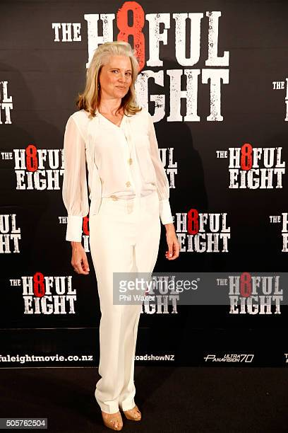 Lucy Lawless poses ahead of the New Zealand premiere of The Hateful Eight at Event Cinemas in Newmarket on January 20 2016 in Auckland New Zealand