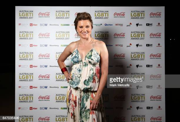 Lucy Lawless poses at the Australian LGBTI Awards 2017 at Sydney Opera House on March 2 2017 in Sydney Australia