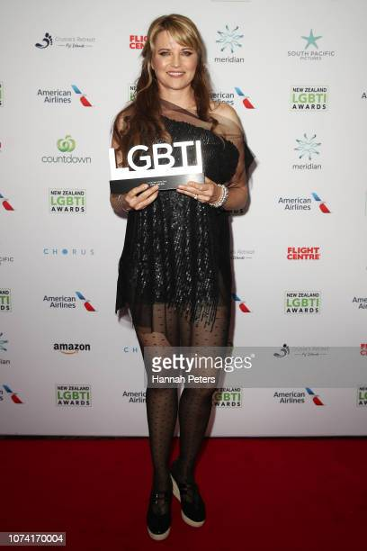 Lucy Lawless poses with her award for Local Icon at the New Zealand LGBTI Awards 2018 at the Cordis Hotel on November 29 2018 in Auckland New Zealand