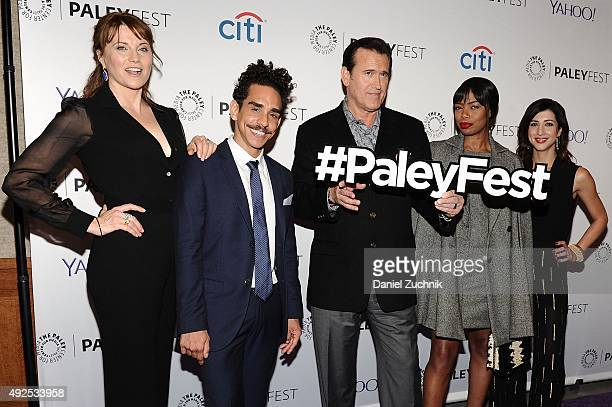 Lucy Lawless Ray Santiago Bruce Campbell Jill Marie Jones and Dana DeLorenzo attend the 'Ash Vs Evil Dead' panel during PaleyFest New York 2015 at...