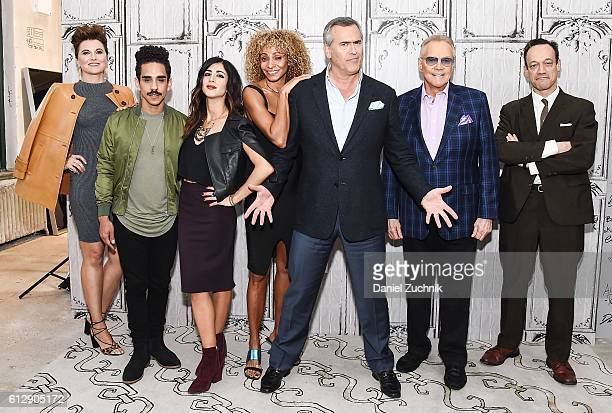 Lucy Lawless, Ray Santiago, Dana DeLorenzo, Michelle Hurd, Bruce Campbell, Lee Majors and Ted Raimi attend The Build Series to discuss the show 'Ash...