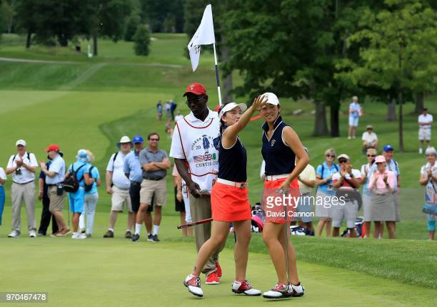 Lucy Li celebrates with Andrea Lee of the United States after they had won their match by 32 against Lily May Humphreys and Shannon McWilliam of the...