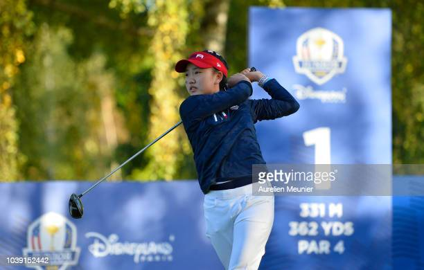 Lucy Li of Team USA tees off on the 1st hole during the foursomes on day one of the 2018 Junior Ryder Cup at Disneyland Paris on September 24 2018 in...