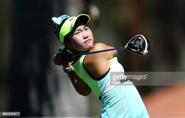 Lucy Li of the United States in action during the proam as a preview for the 2017 ANA Inspiration held on the Dinah Shore Tournament Course at the...