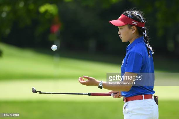 Lucy Li of the United States looks on from the nith green during fourball matches on day one of the 2018 Curtis Cup at Quaker Ridge Golf Club on June...