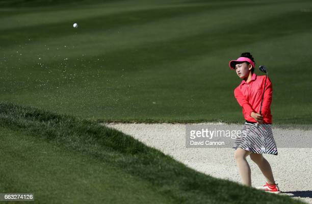 Lucy Li of the United States plays her fourth shot on the par 5 ninth hole during the completion of the second round of the 2017 ANA Inspiration held...
