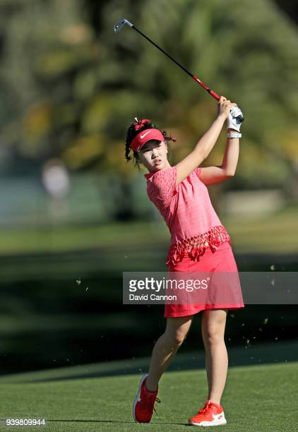 Lucy Li of the United States plays her second shot on the par 5 second hole during the first round of the 2018 ANA Inspiration on the Dinah Shore...