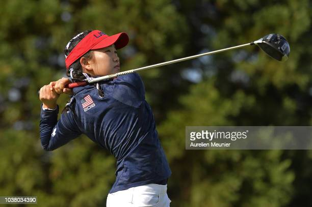Canon Claycomb of the United States reacts during a training session prior to the Junior Ryder Cup at Disneyland Paris on September 22 2018 in Paris...