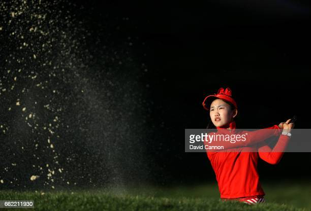 Lucy Li of the United States the fourteen year old amateur qualifier plays her second shot on the par 5 11th hole during the second round of the 2017...