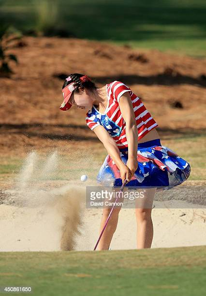 Lucy Li of the USA who is only 11years old playing her third shot at the par 4 16th hole during the first round of the 69th US Women's Open at...