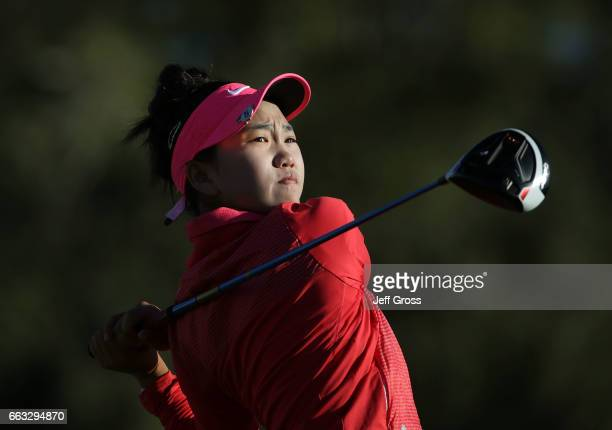 Lucy Li plays her tee shot on the second hole during the completion of the second round of the ANA Inspiration at the Dinah Shore Tournament Course...