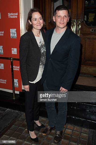 Lucy Liemann and Nigel Harman attends the press night for the new cast of One Man Two Guvnors at Theatre Royal on October 17 2013 in London England