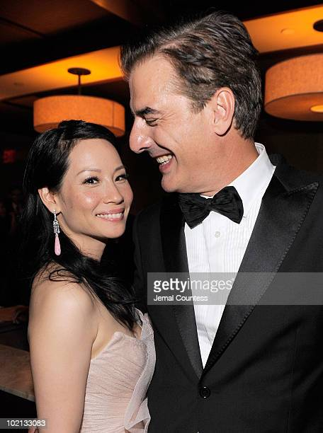 Lucy Liu and Chris Noth attend the after party following the 64th Annual Tony Awards at Rockefeller Center on June 13 2010 in New York City
