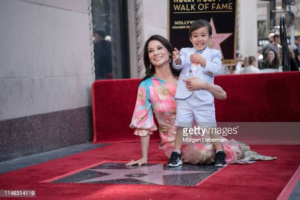 Lucy Liu and her son Rockwell at Lucy Liu's Hollywood Walk of Fame star ceremony on May 01 2019 in Hollywood California