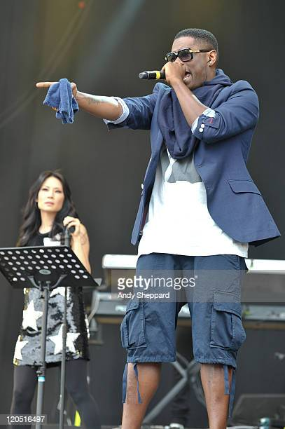 Lucy Liu and Jay Electronica of The Bullitts perform on stage during The Big Chill Festival 2011 at Eastnor Castle Deer Park on August 6 2011 in...