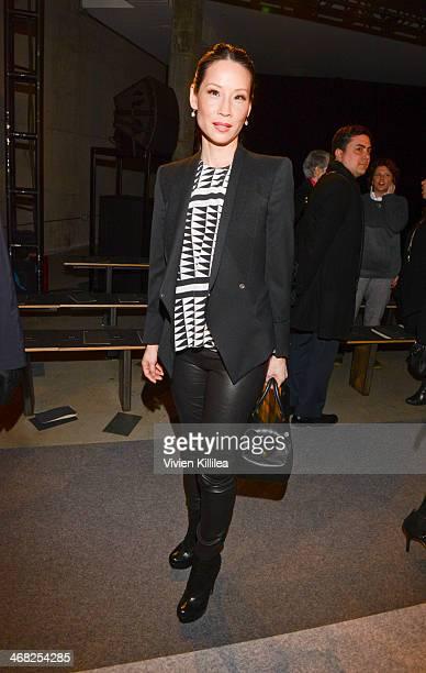 Lucy Liu attends Edun MercedesBenz Fashion Week Fall 2014 at Skylight Modern on February 9 2014 in New York City