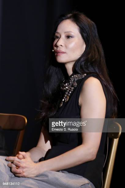 Lucy Liu attends the Luke Cage panel during Netflix 'See What's Next' event at Villa Miani on April 18 2018 in Rome Italy
