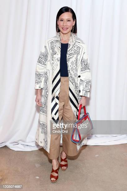 Lucy Liu attends the Tory Burch Fall Winter 2020 Fashion Show at Sotheby's on February 09 2020 in New York City