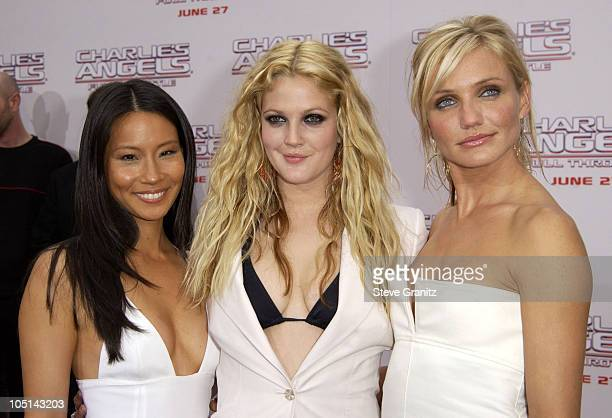 """Lucy Liu, Drew Barrymore, and Cameron Diaz during """"Charlie's Angels 2 - Full Throttle"""" Premiere at Mann's Chinese Theater in Hollywood, California,..."""